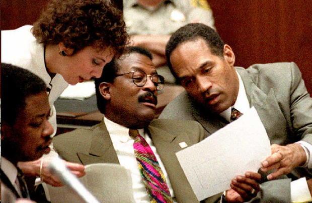 Murder defendant O.J. Simpson (R), prosecutor Marc