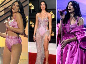 Dua Lipa nei suoi vari outfit rosa